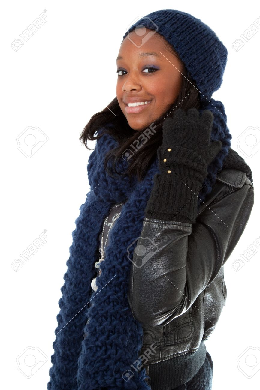 Young african american woman wearing winter dress Stock Photo - 9085906