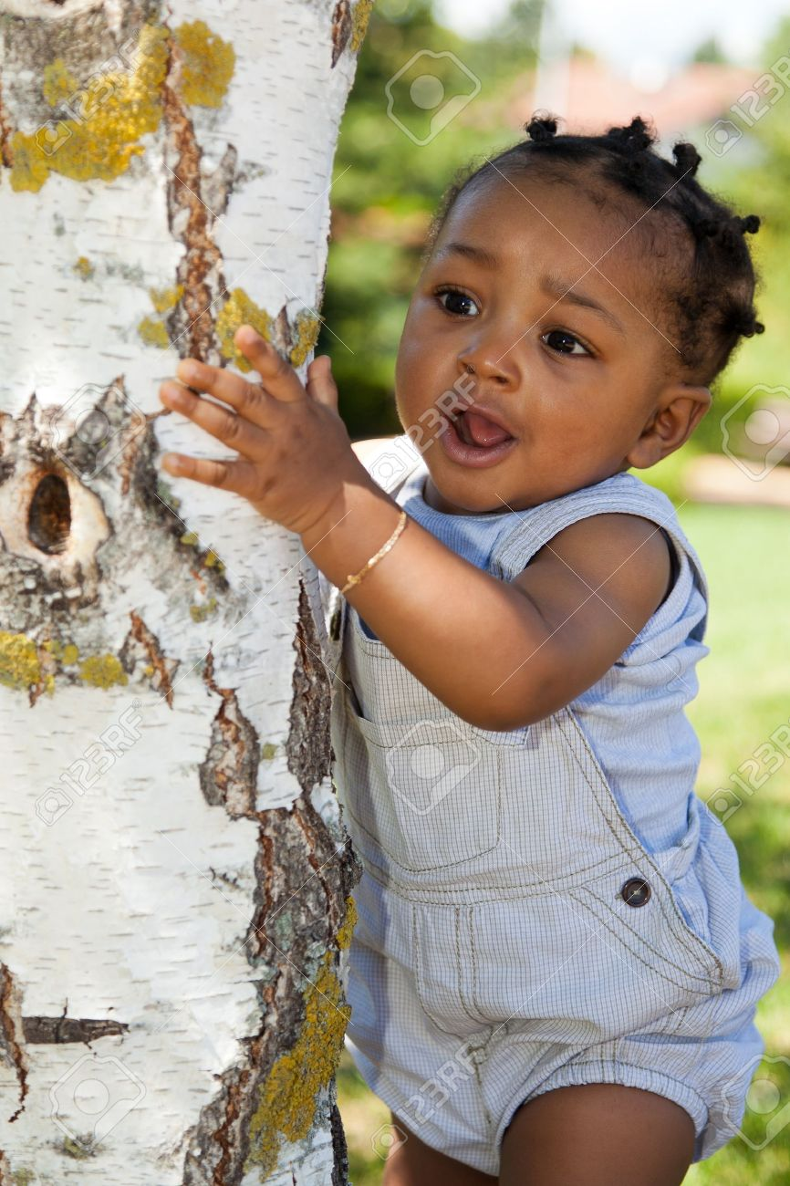 Cute african american baby boy at park stock photo 10321123