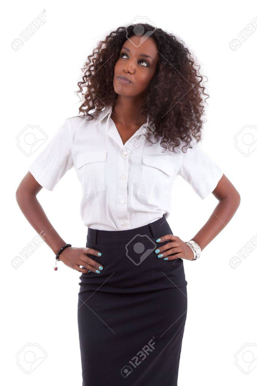 Young african american business woman looking up, isolated over white background Stock Photo - 12321320