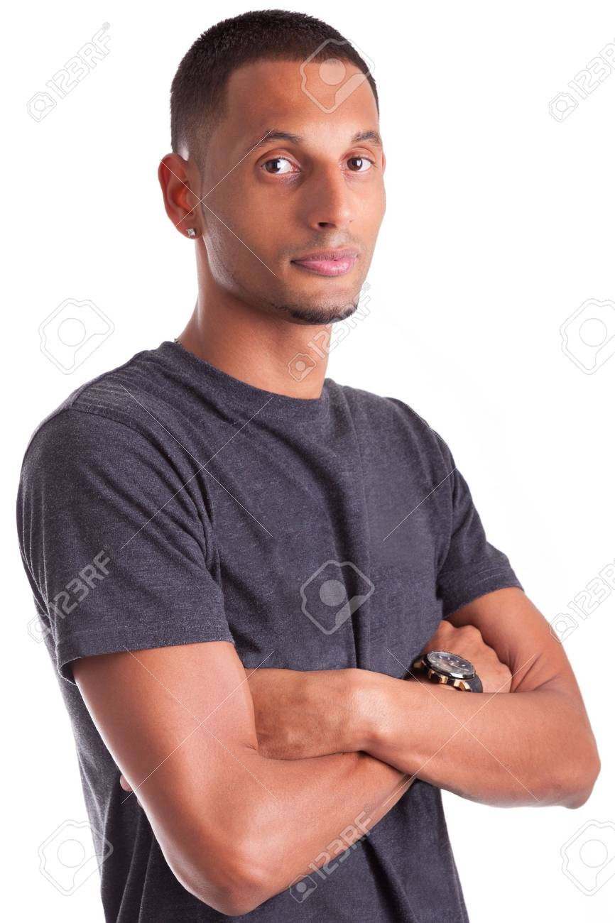 Portrait of a young african american man with folded arms, isolated on white background Stock Photo - 15896329