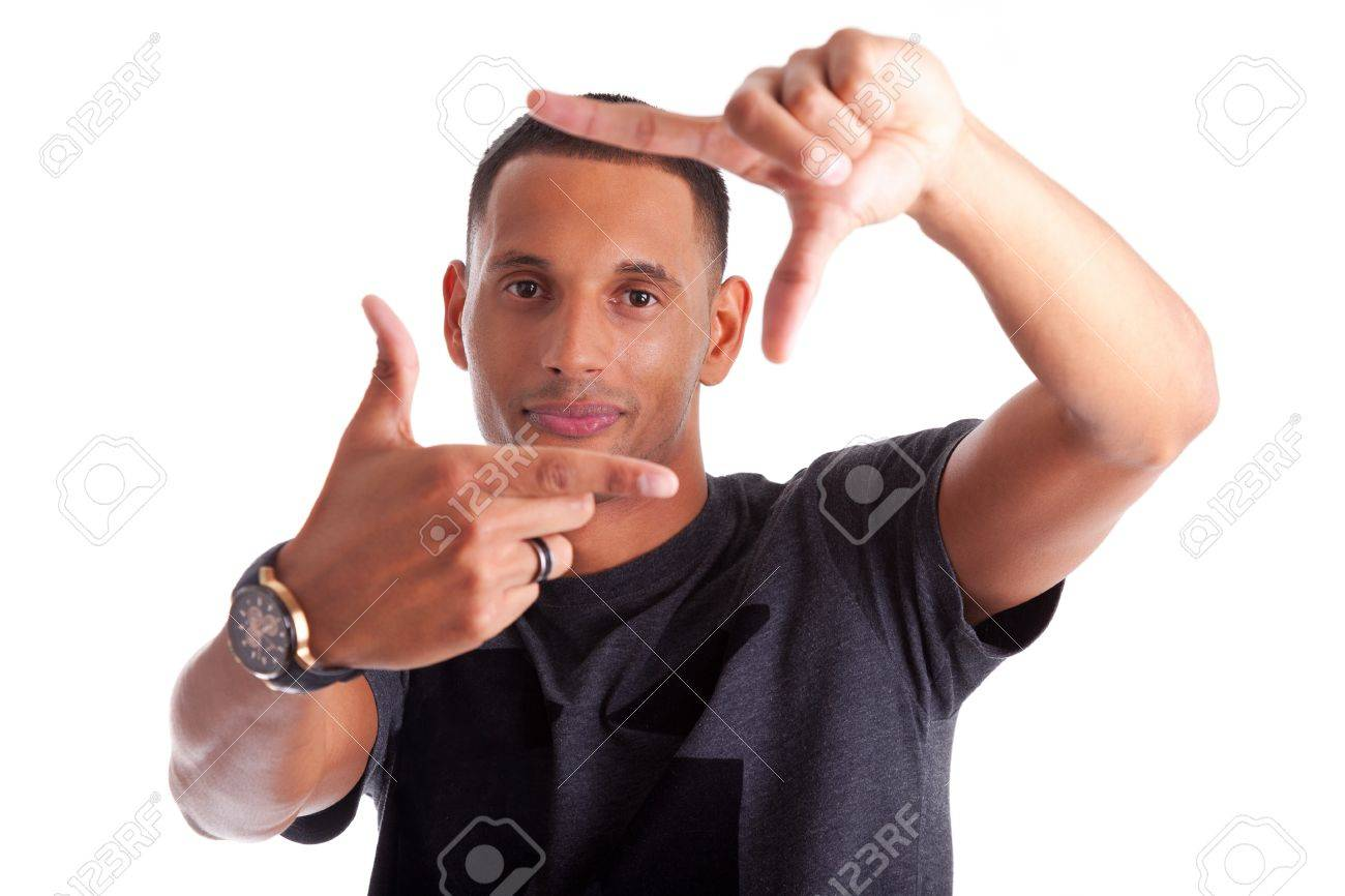 African american man making frame sign with his hands, isolated on white background Stock Photo - 15896328