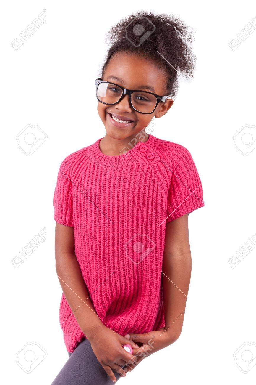 Portrait of a cute young African American girl,isolated on white background Stock Photo - 16116354