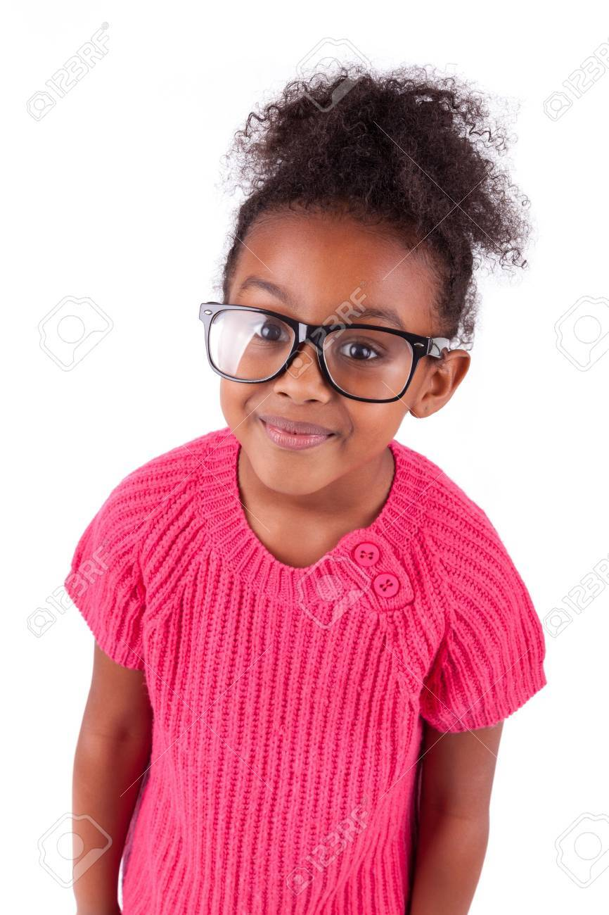 Portrait of a cute young African American girl,isolated on white background Stock Photo - 16116339