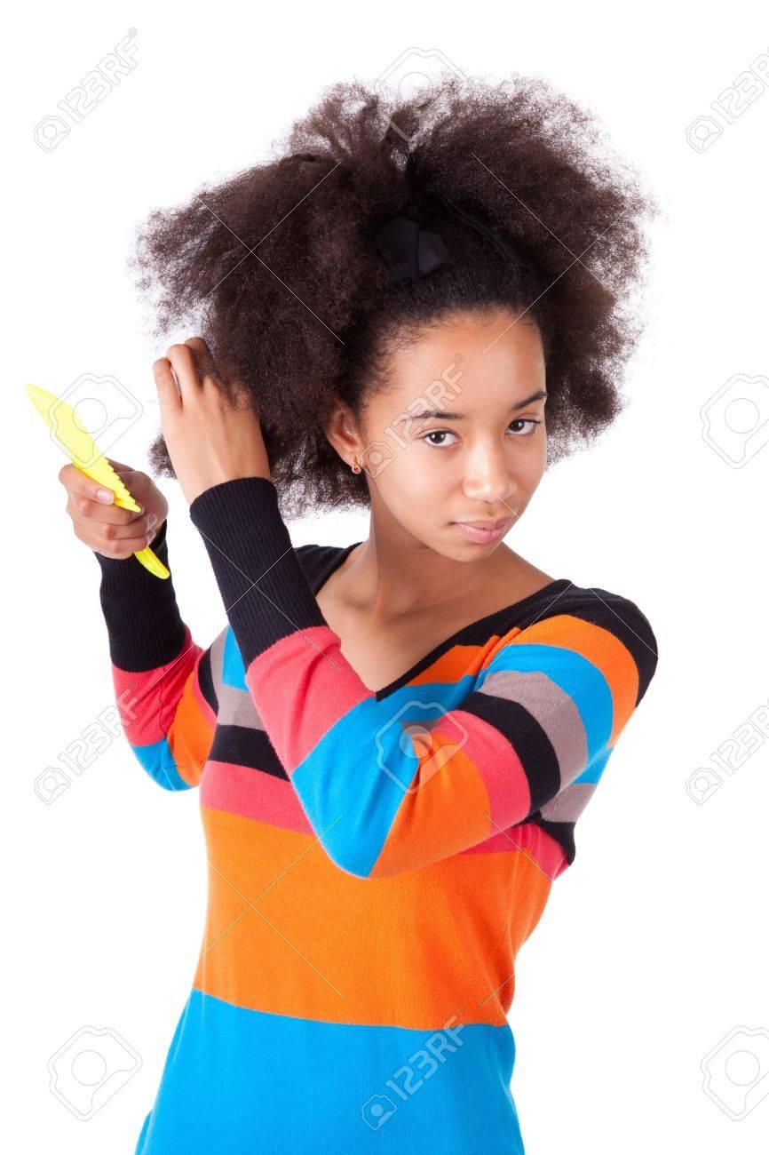 Miraculous Black African American Teenage Girl Combing Her Afro Hair Short Hairstyles Gunalazisus
