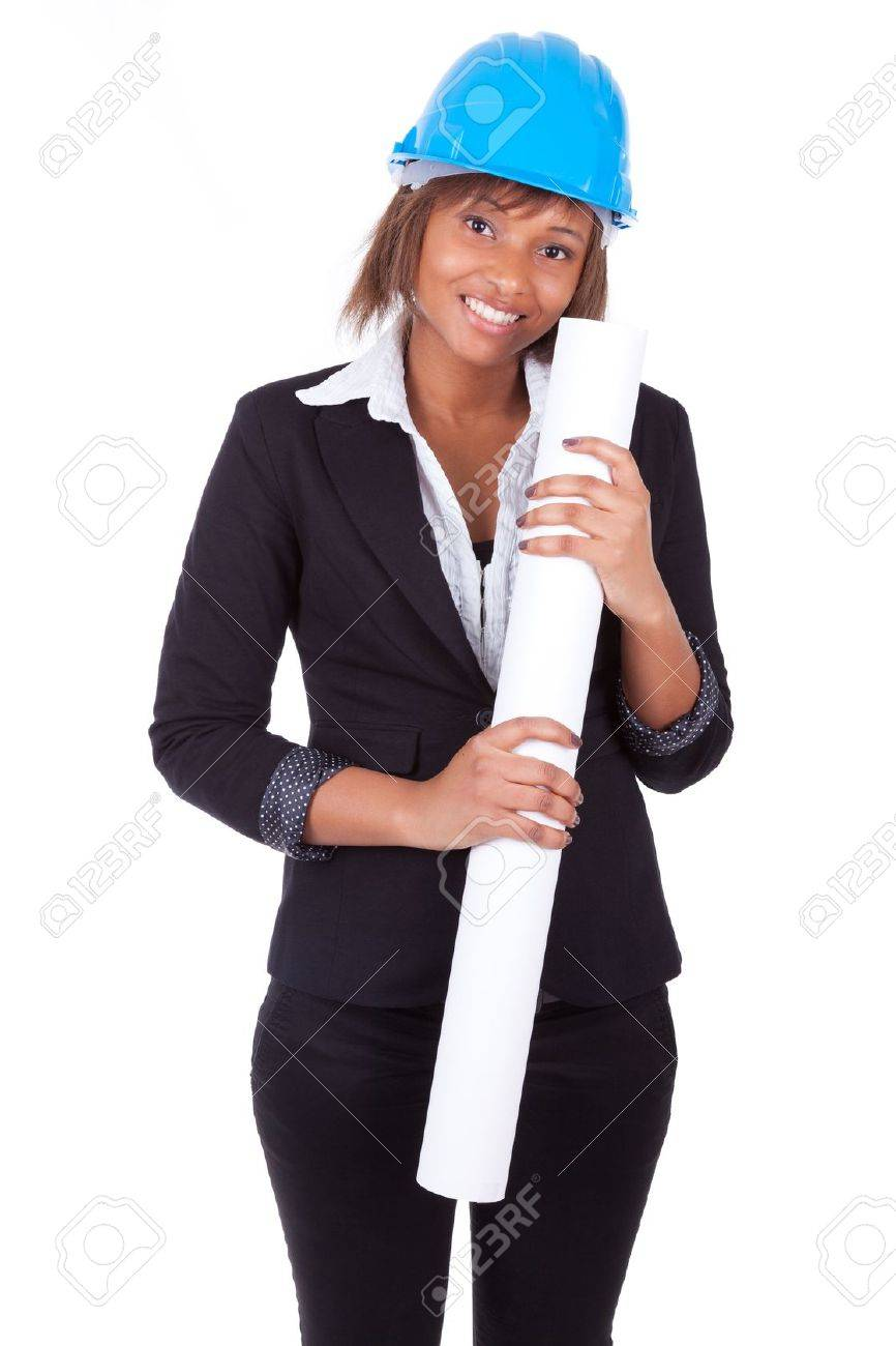 Confident Black African American woman architect smiling with folded arms, isolated on white background Stock Photo - 18970915