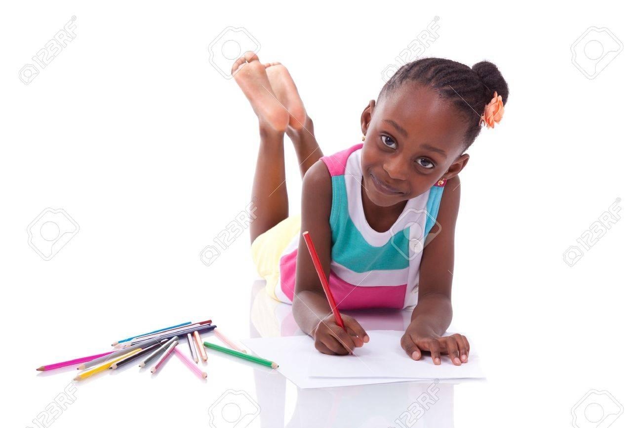 Noir Afro Américain Petite Fille De Dessin Mignon Isolé Sur Fond Blanc Les Africains Enfants