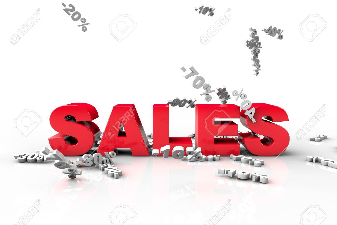 3D discount text falling on 3d text sales, isolated on white background Stock Photo - 20891364