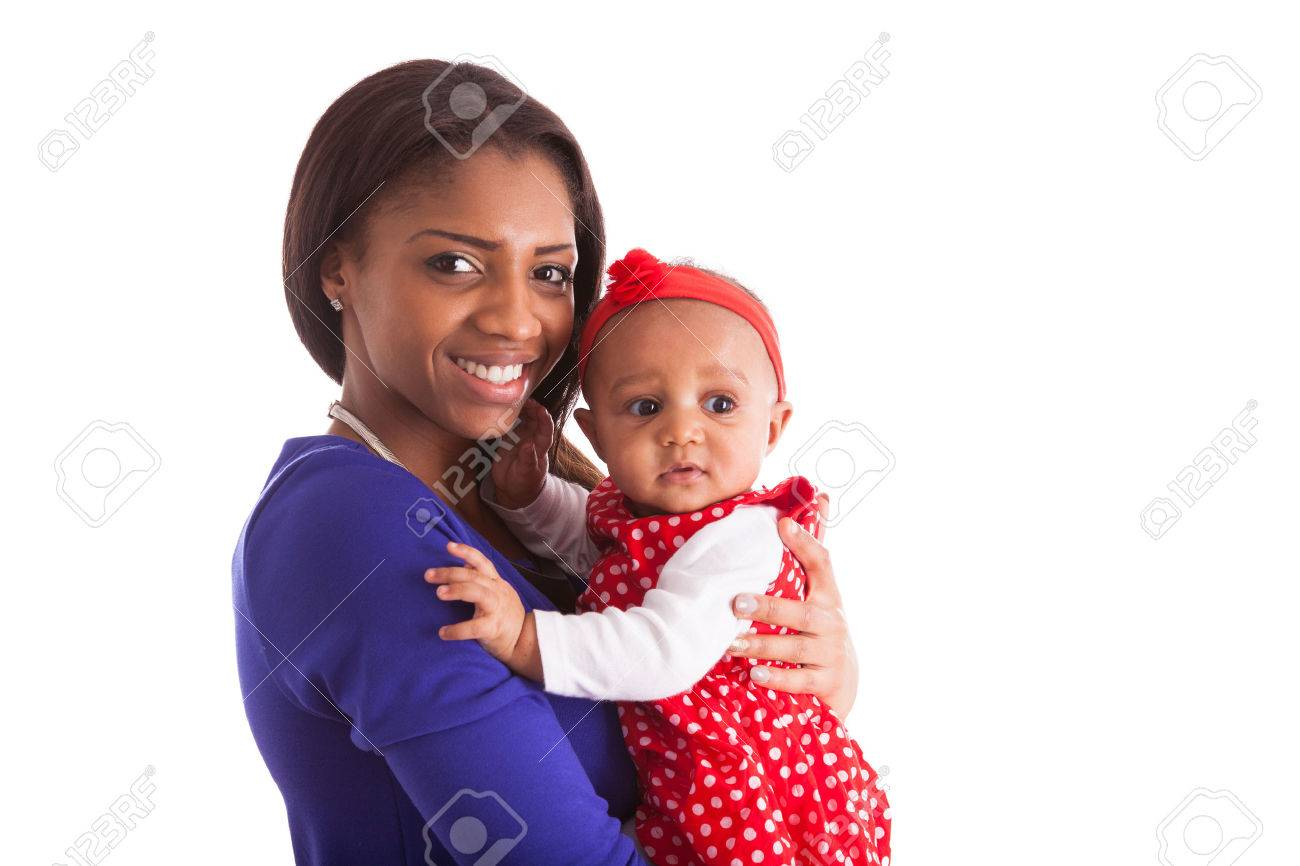 Young african american mother holding with her baby girl isolated on white background Stock Photo - 38271602