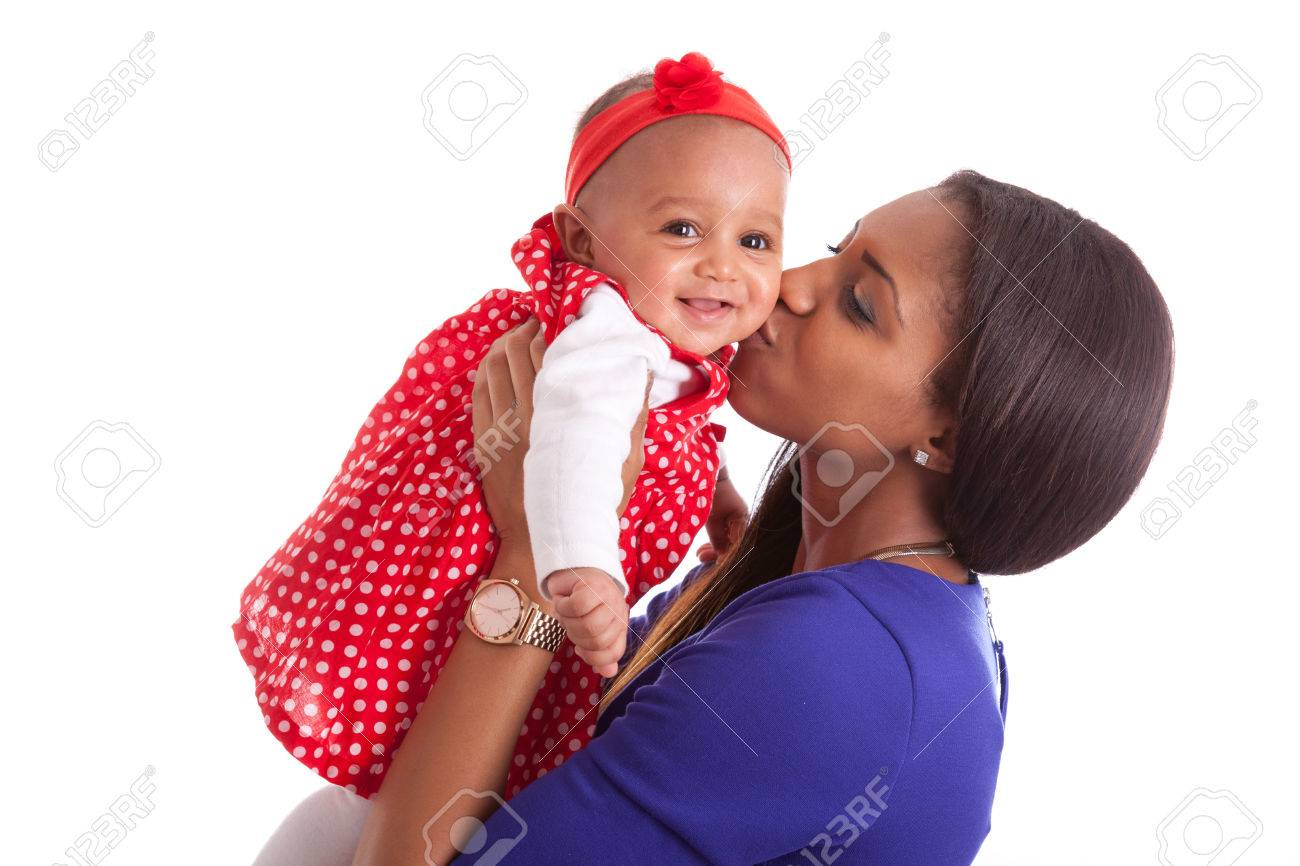 Young african american mother playing with her baby girl Stock Photo - 38705620