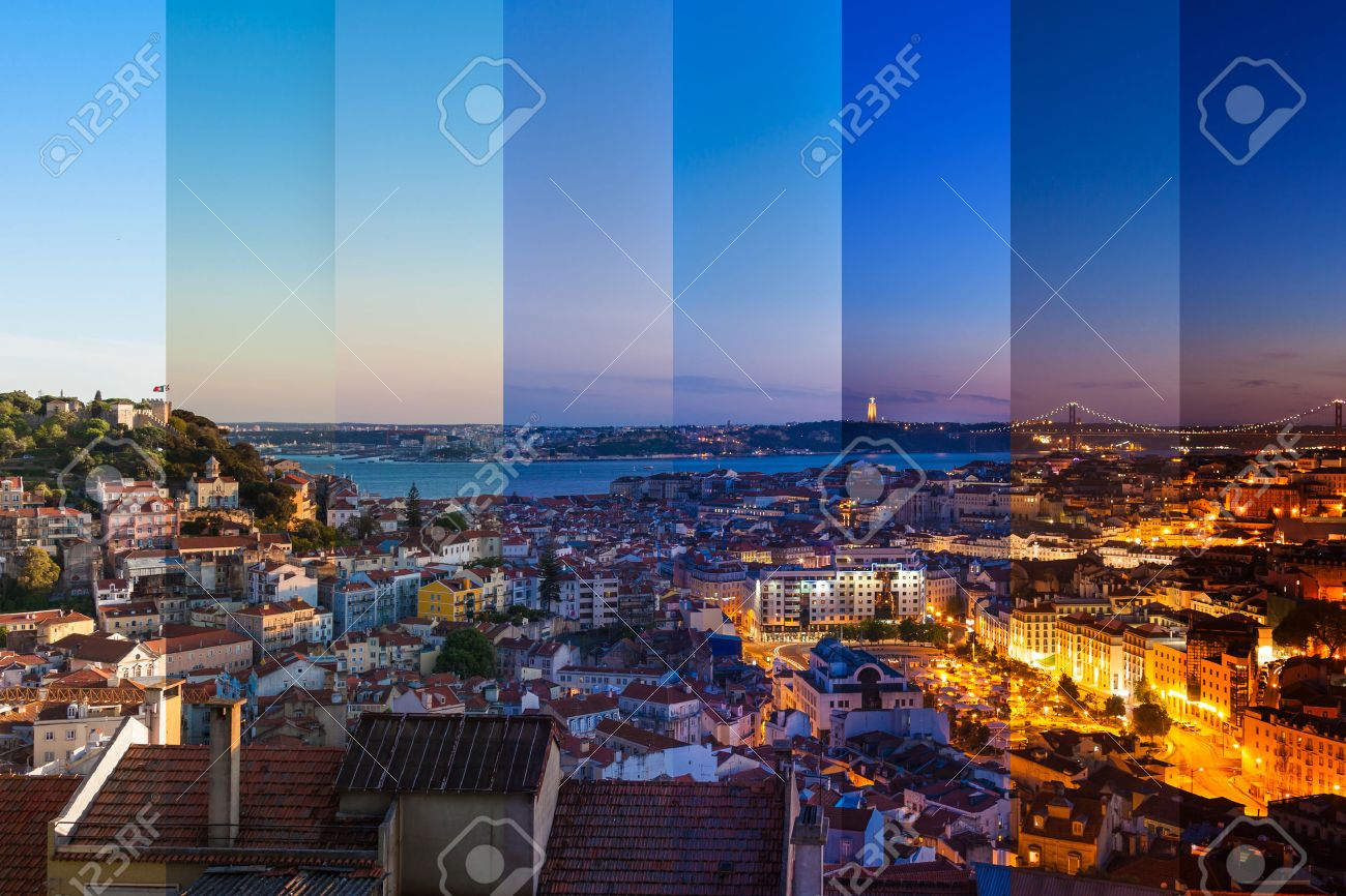 Aerial view montage of Lisbon rooftop from Senhora do Monte viewpoint (Miradouro)  fromn day to night in Portugal Stock Photo - 39623649