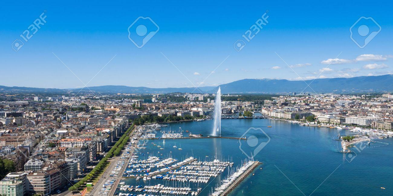 Aerial view of Leman lake - Geneva city in Switzerland - 43224381