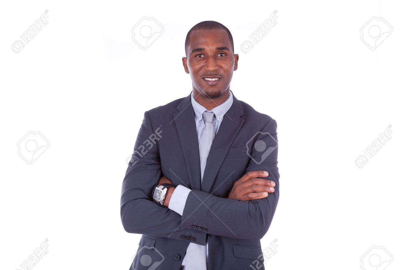 African american business man with folded arms over white background - Black people - 43561524