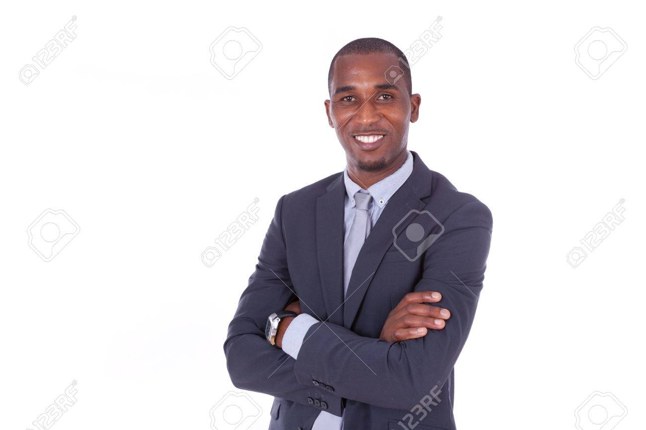 African american business man with folded arms over white background - Black people - 43561635
