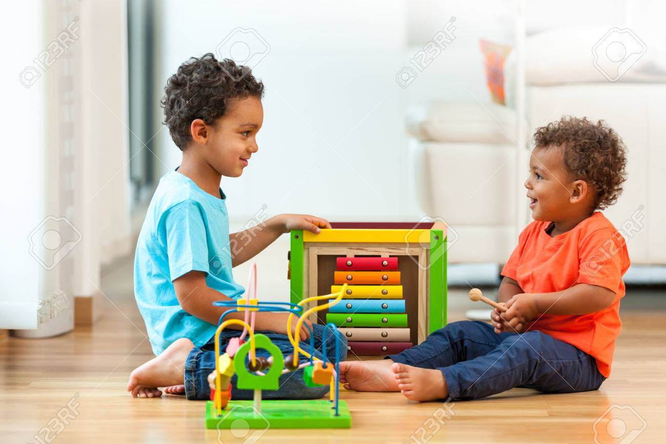 African american brothers child playing together Stock Photo - 45575791
