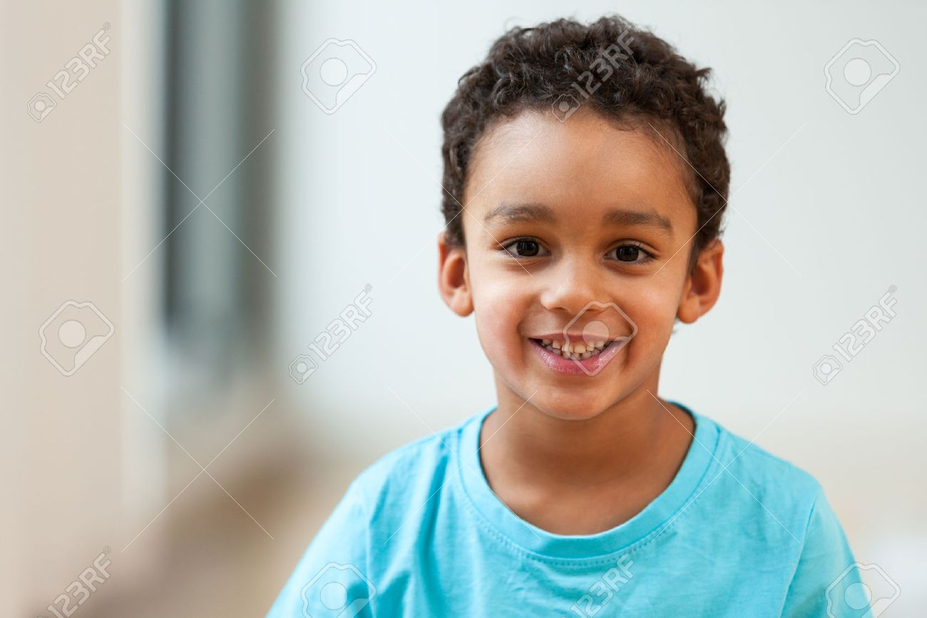 Portrait of a cute little African American boy smiling Stock Photo - 45575989