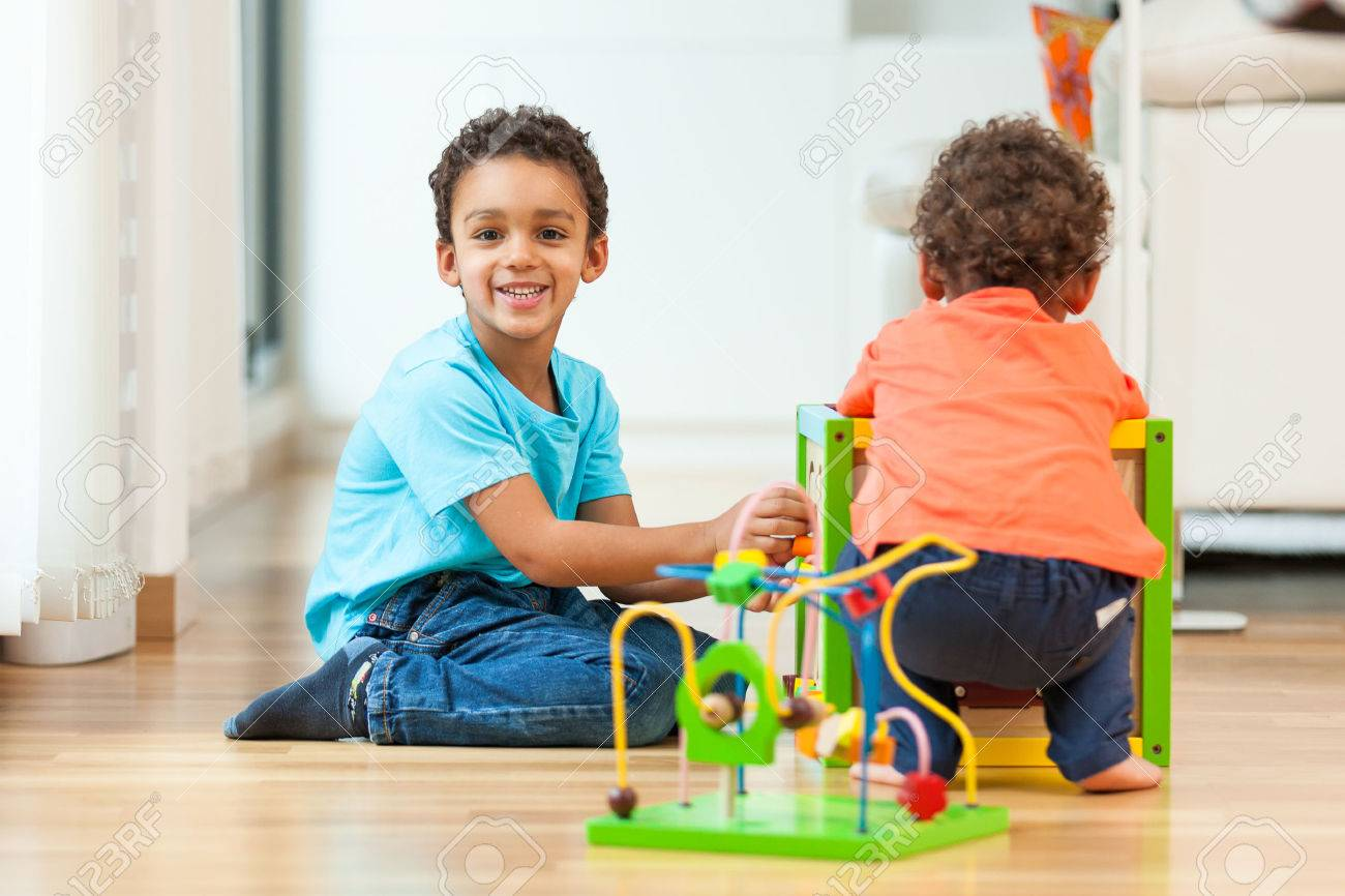 African american brothers child playing together - 45736495