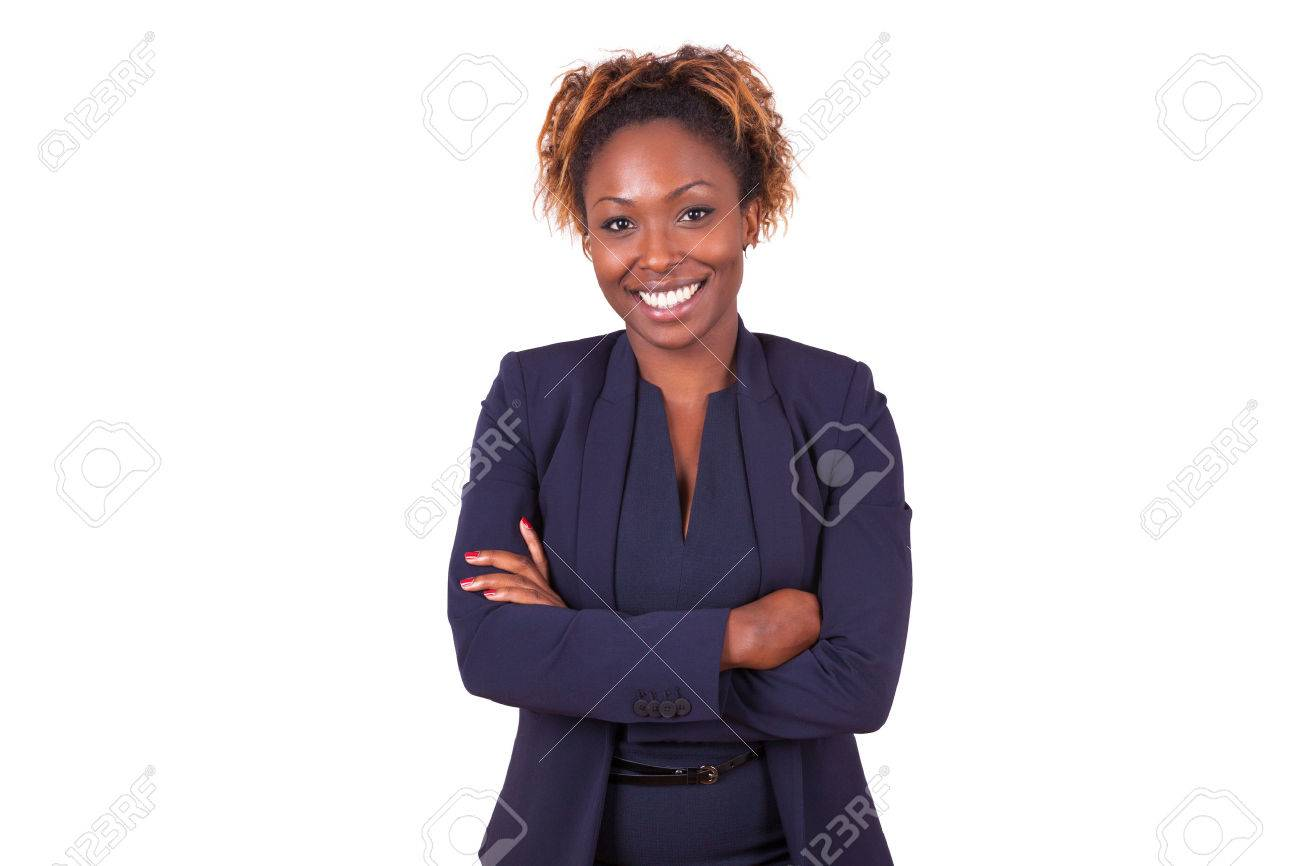 African American woman with folded arms, isolated on white background - Black people - 47288648