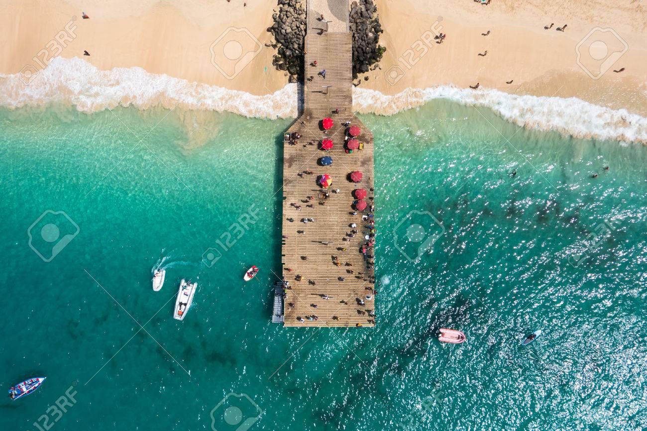 Aerial view of Santa Maria beach pontoon in Sal Island Cape Verde - Cabo Verde - 50930085