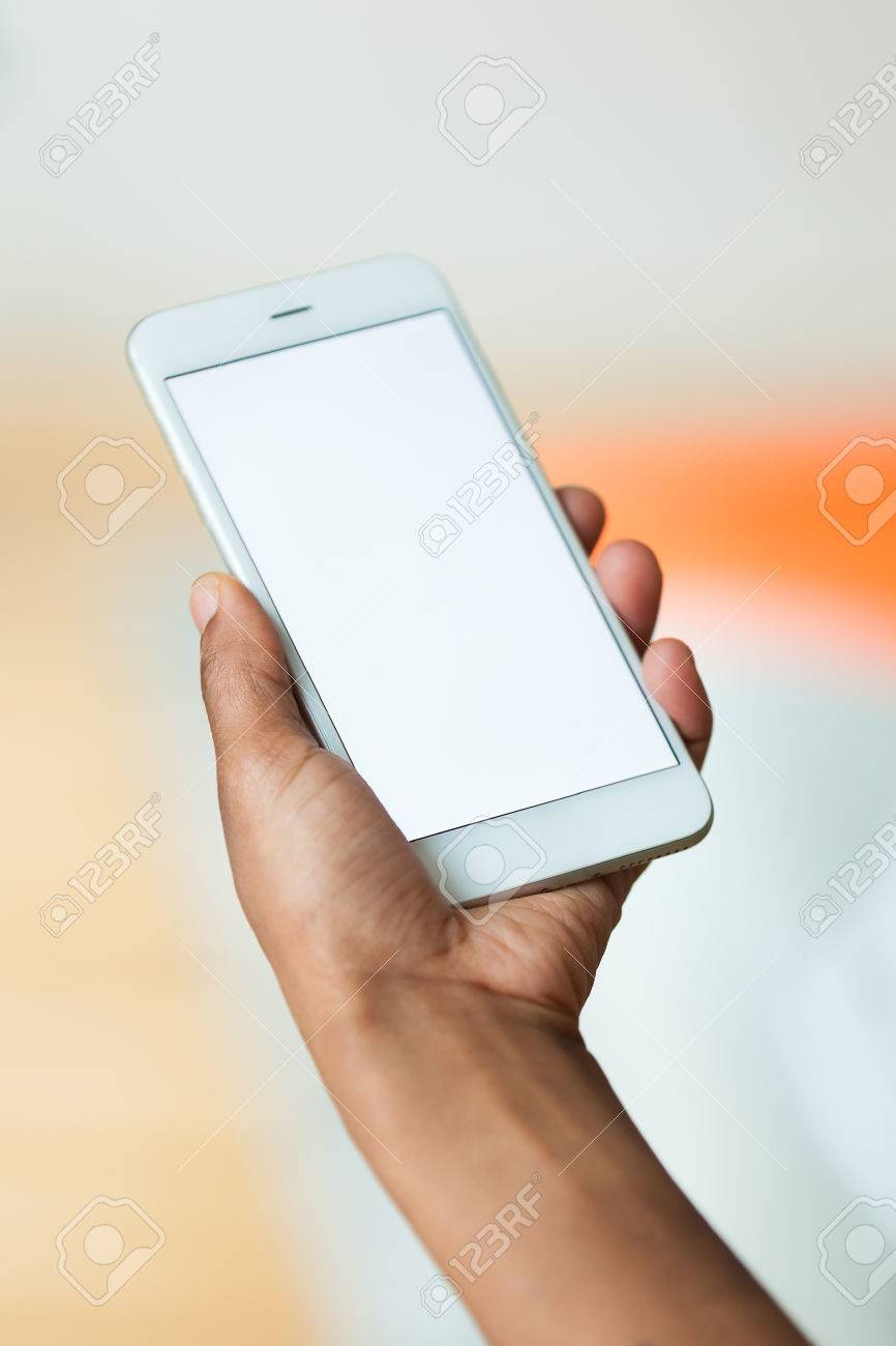 African american person holding a tactile mobile smartphone - Black people - 51548092