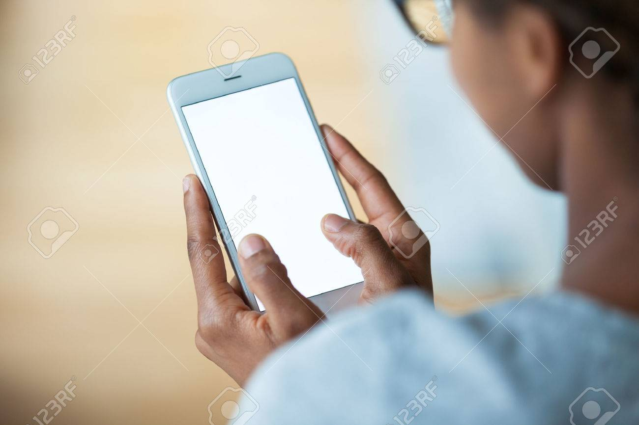 African american person holding a tactile mobile smartphone - Black people Stock Photo - 51668877