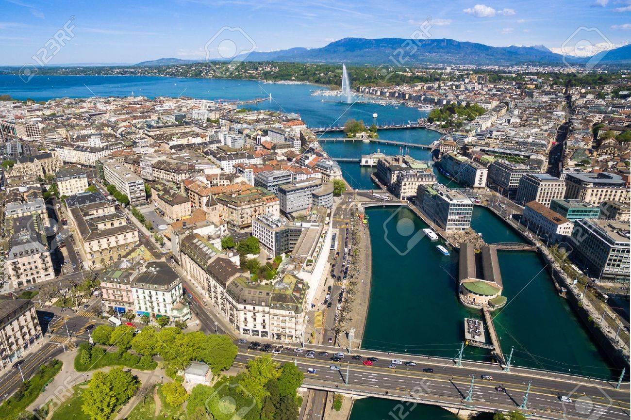 Aerial view of Leman lake - Geneva city in Switzerland - 58716903