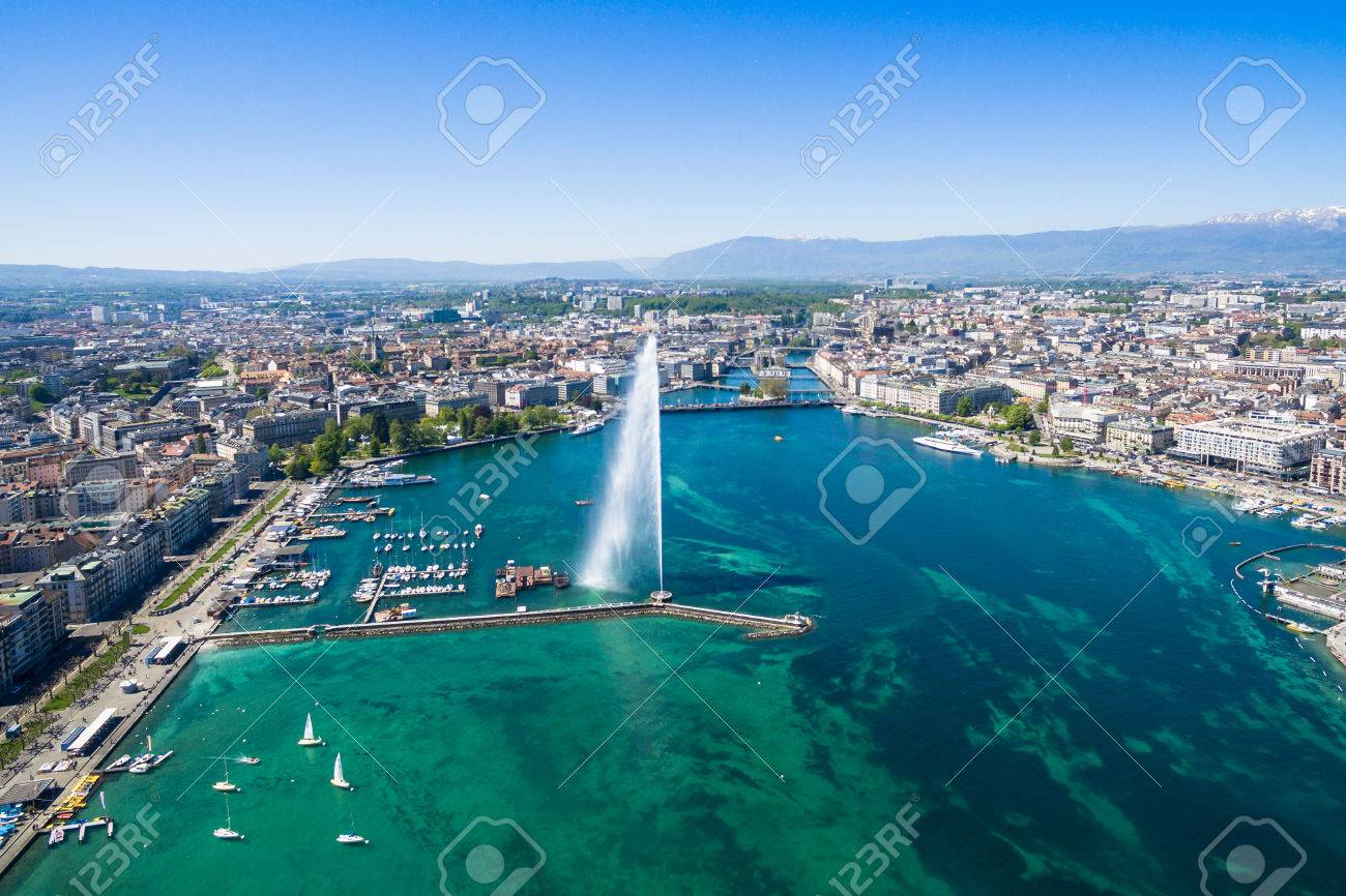 Aerial view of Geneva city in Switzerland - 58718409