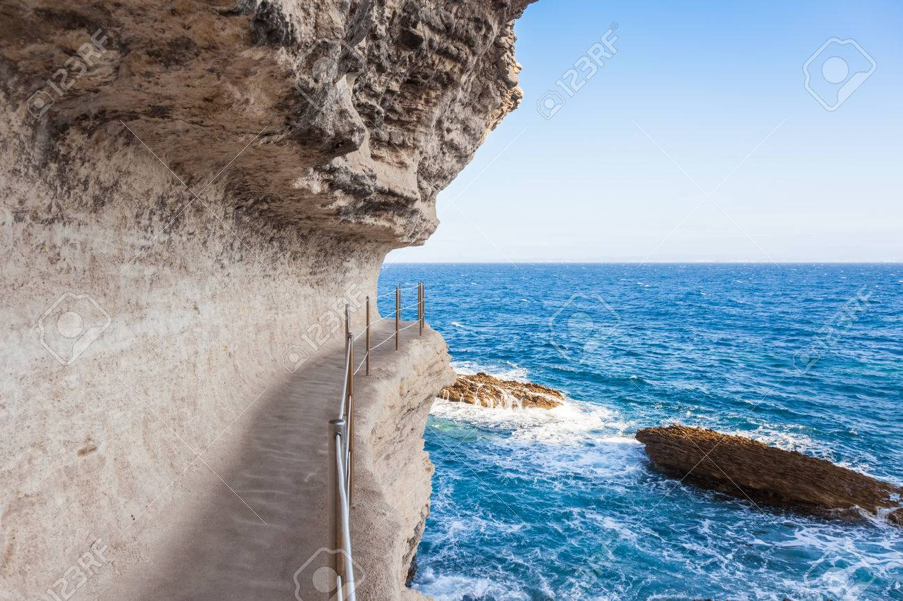 King Aragon Stair Steps In Bonifacio Cliff Coast Rocks, Corsica ...