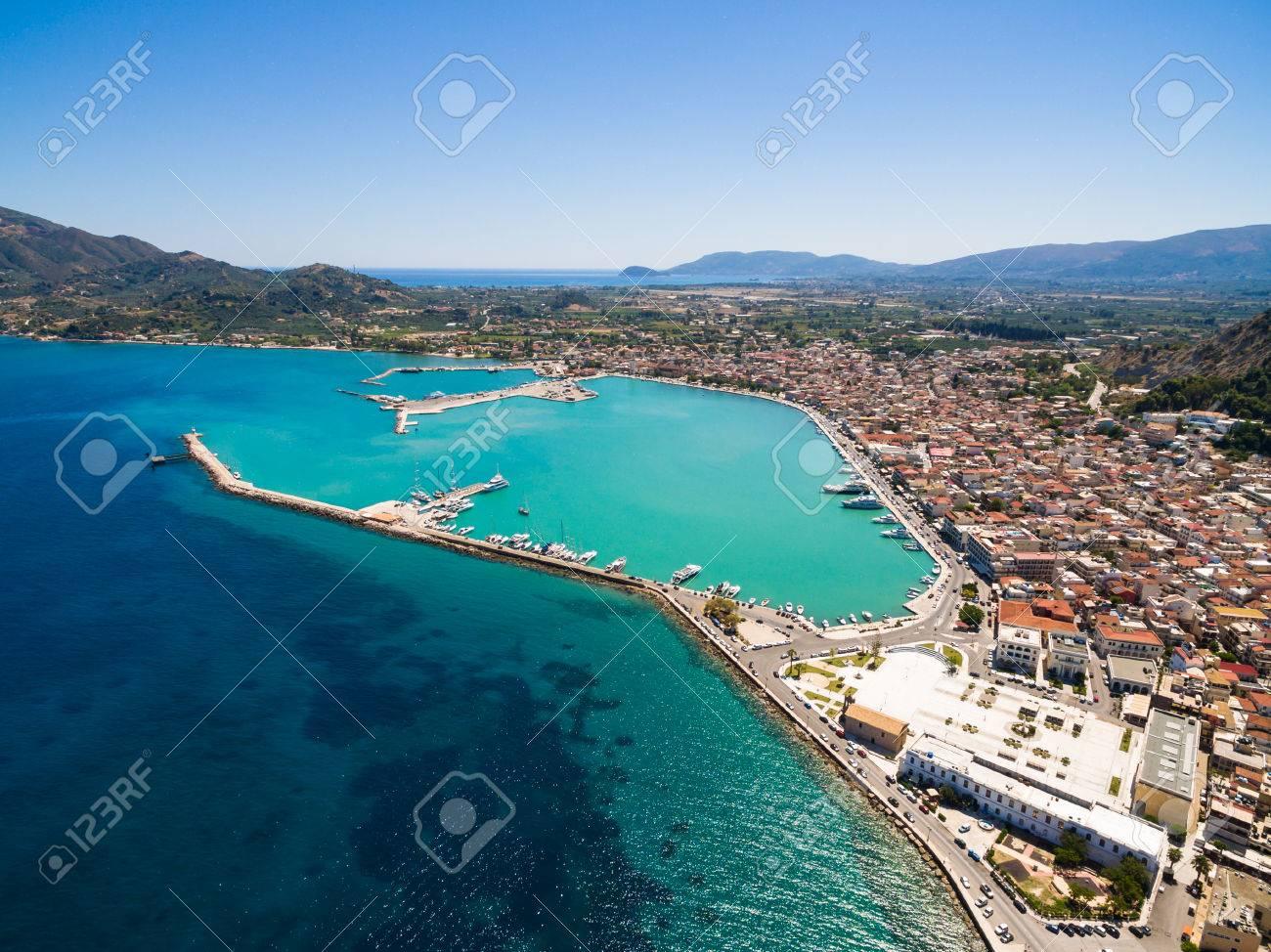 Aerial view of Zakynthos city in Zante island, in Greece - 84343672