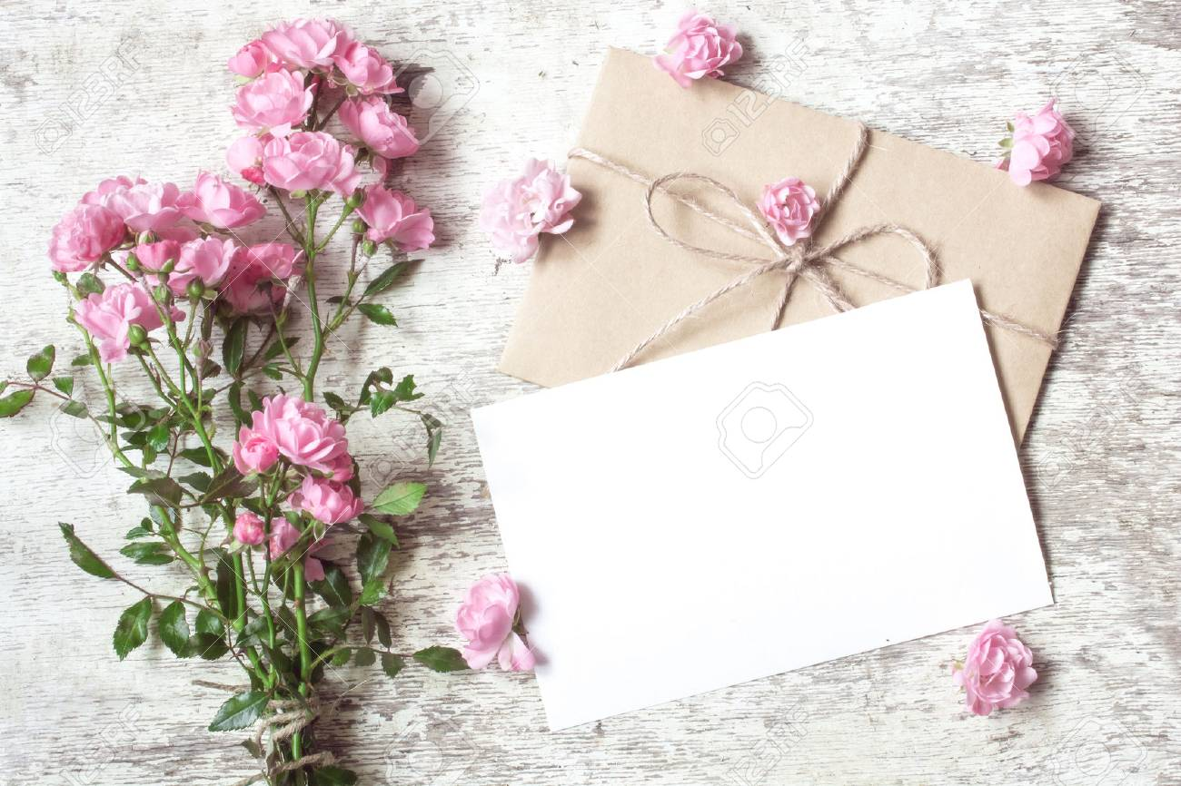 Blank White Greeting Card With Pink Rose Flowers Bouquet And Stock