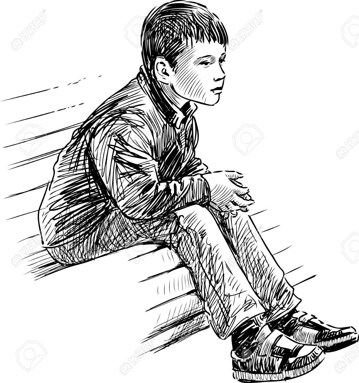 The sketch of a little boy sitting on the park bench stock vector 80427076