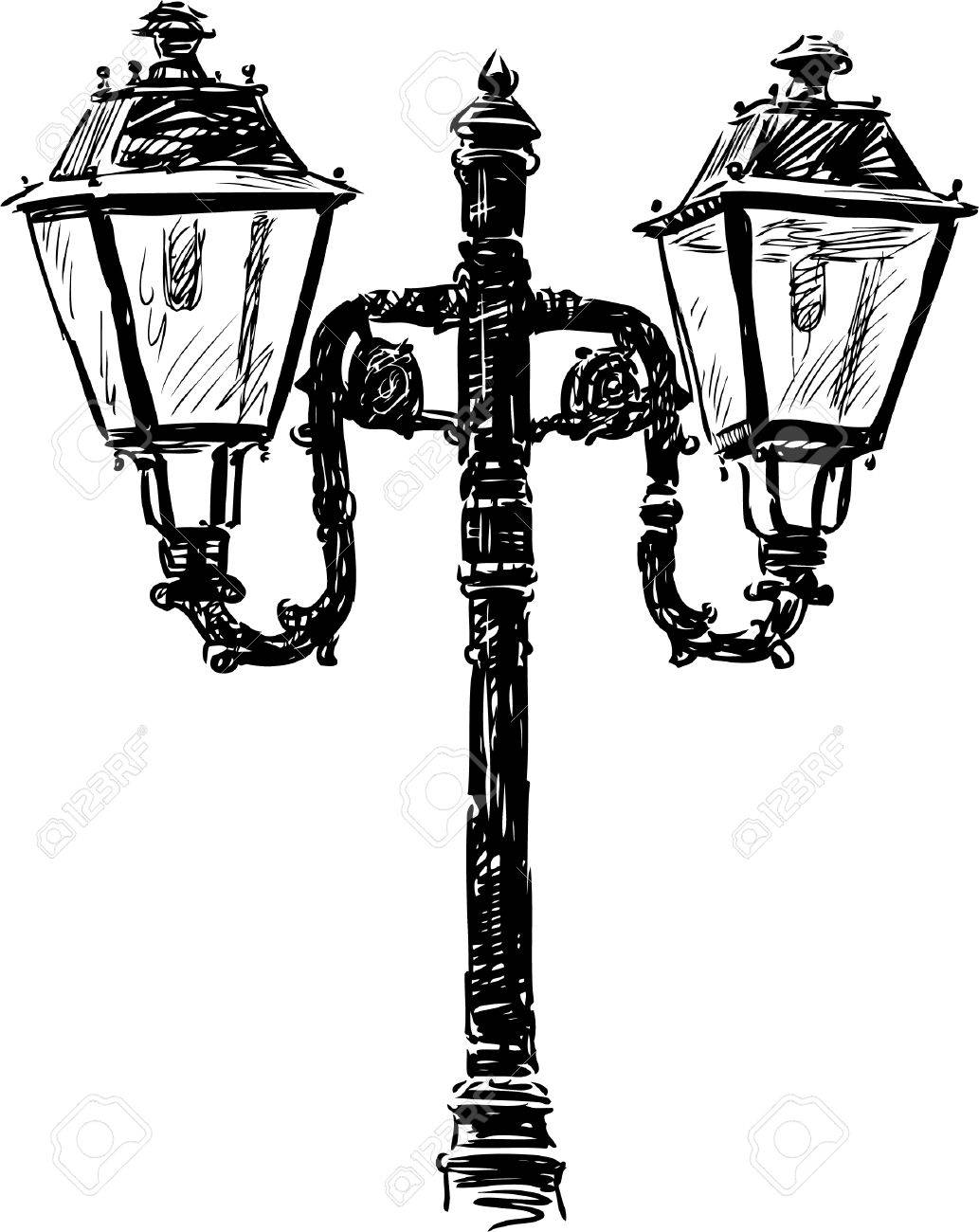Vector Drawing Of An Old Street Lamp. Royalty Free Cliparts ... for Street Lamp Drawing  150ifm
