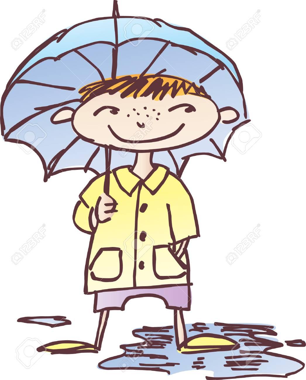 Dessin Vectoriel De La Petite Fille Avec Un Parapluie Dessiné Dans Le Style D Un Croquis