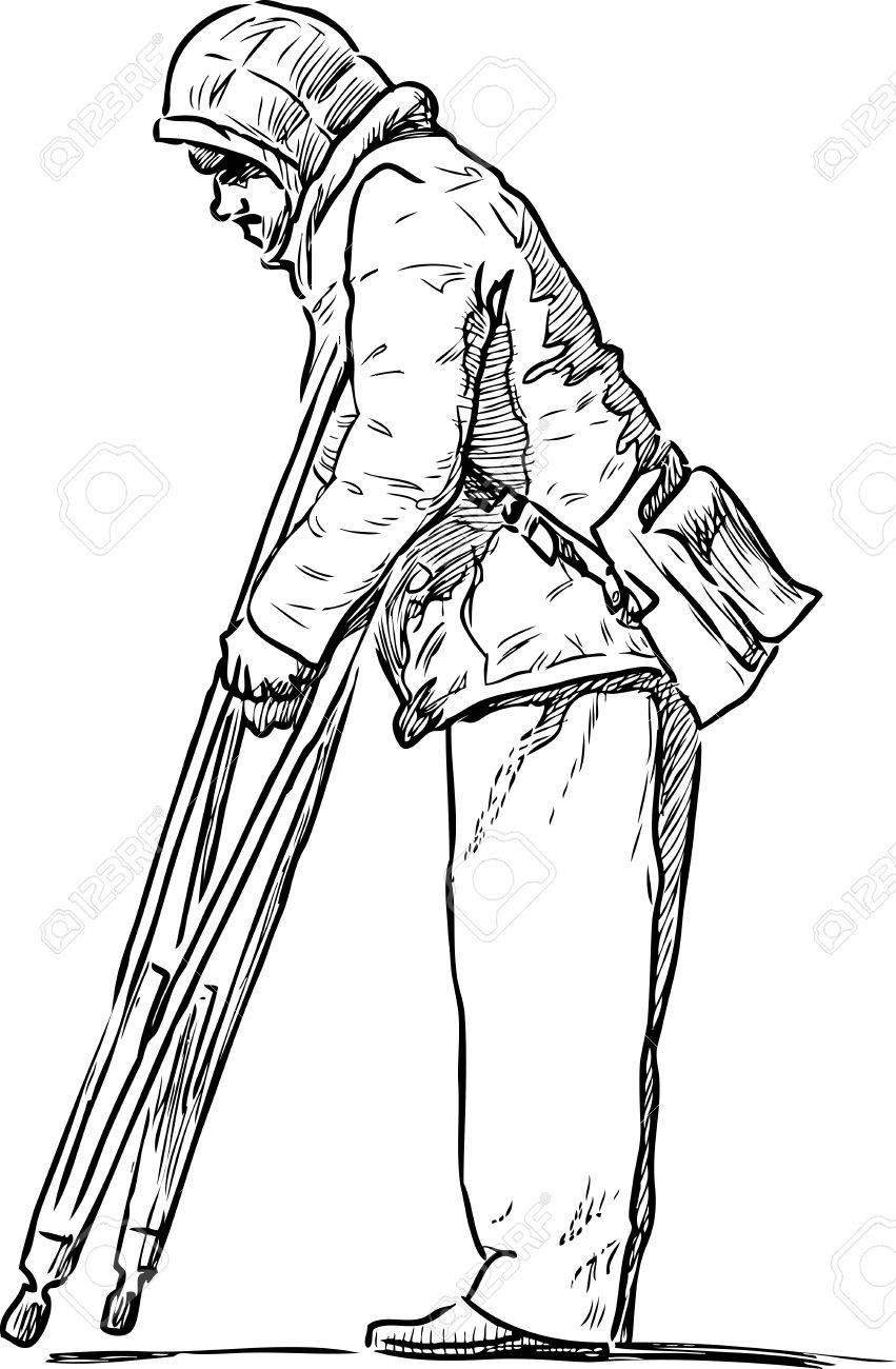 Vector Sketch Of A Disabled Person With The Crutches