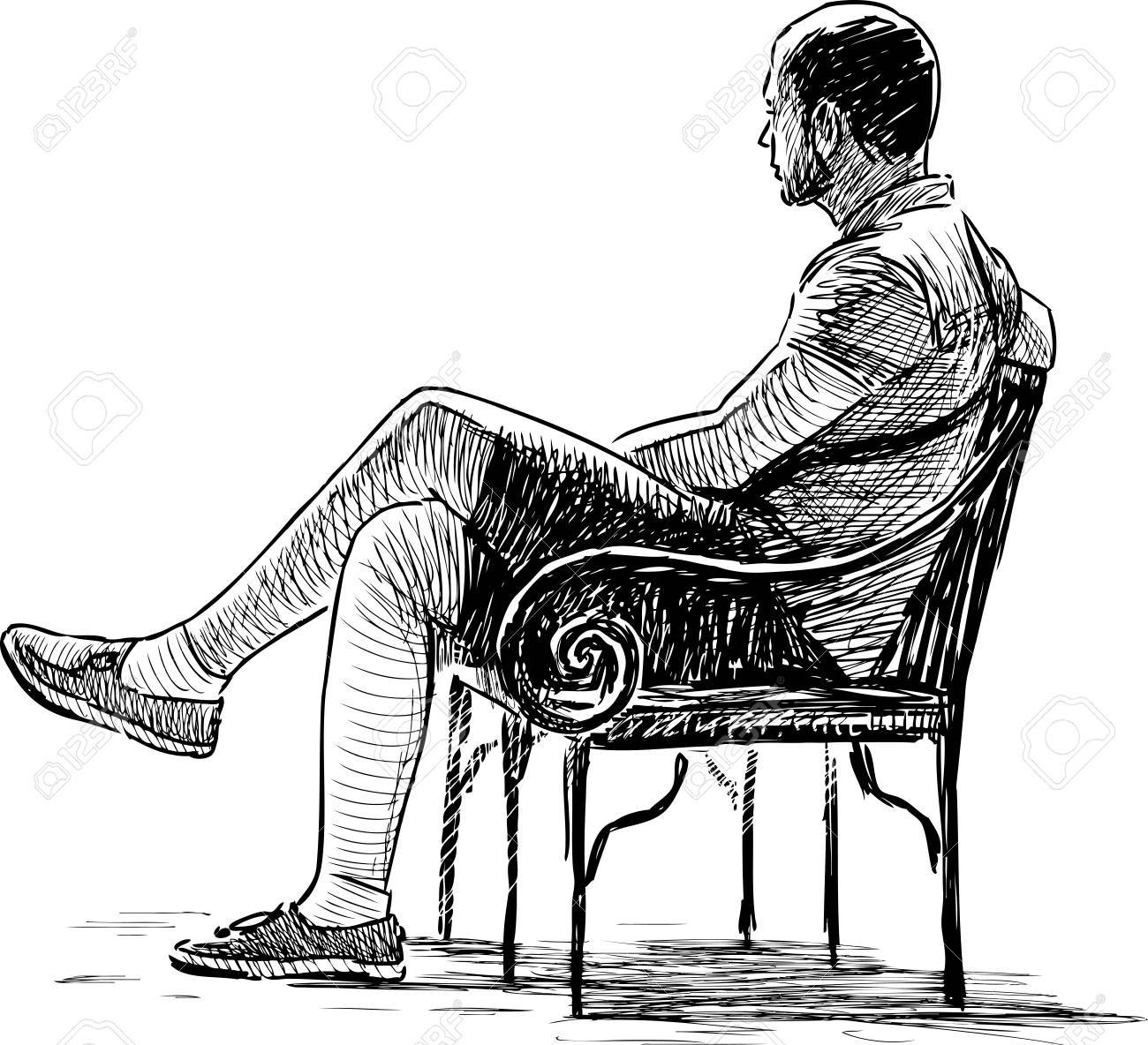 Vector Drawing Of A Casual Man On The Park Bench Royalty Free