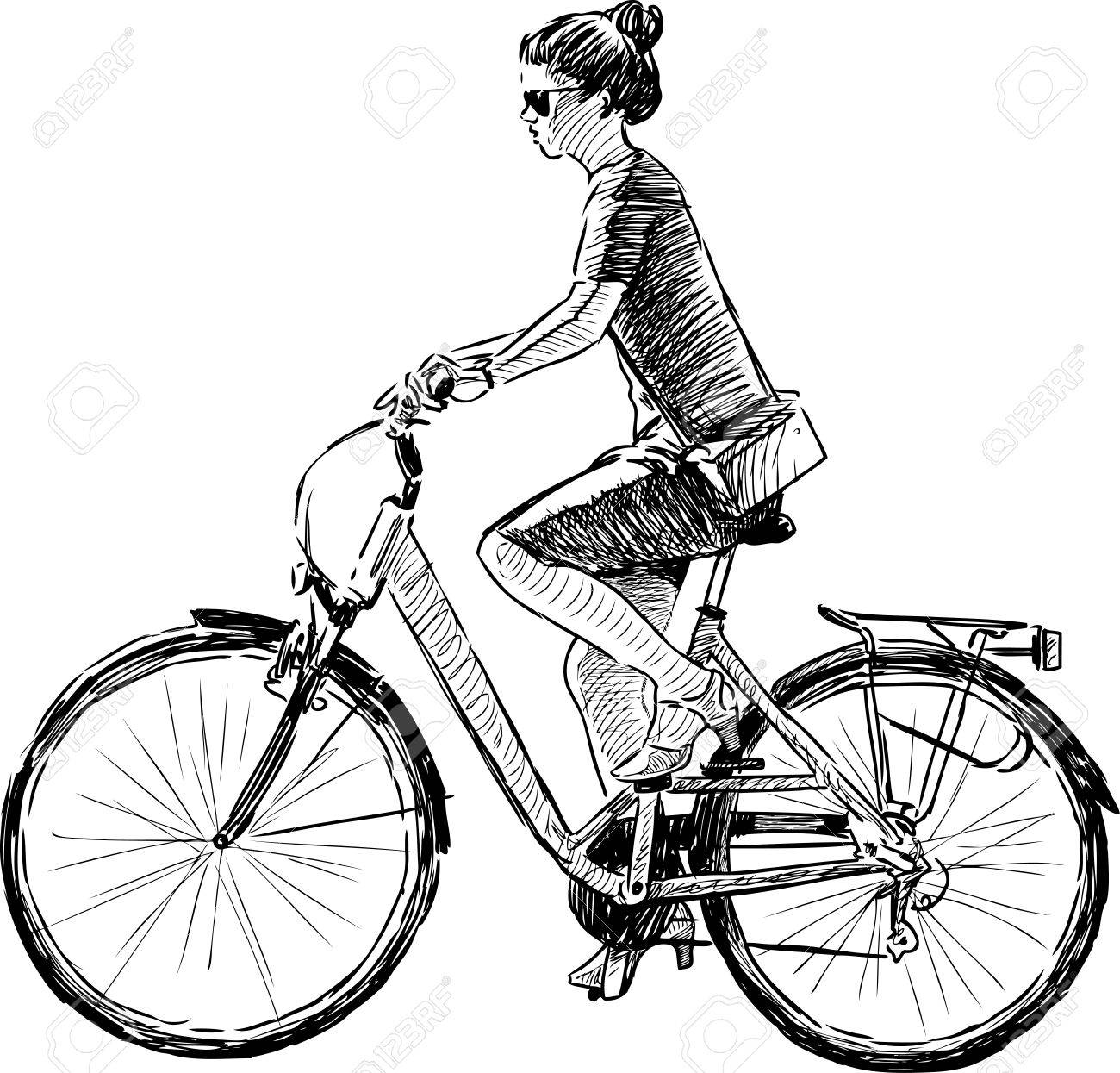 Sketch Of A Girl Riding A Bike Royalty Free Cliparts Vectors And