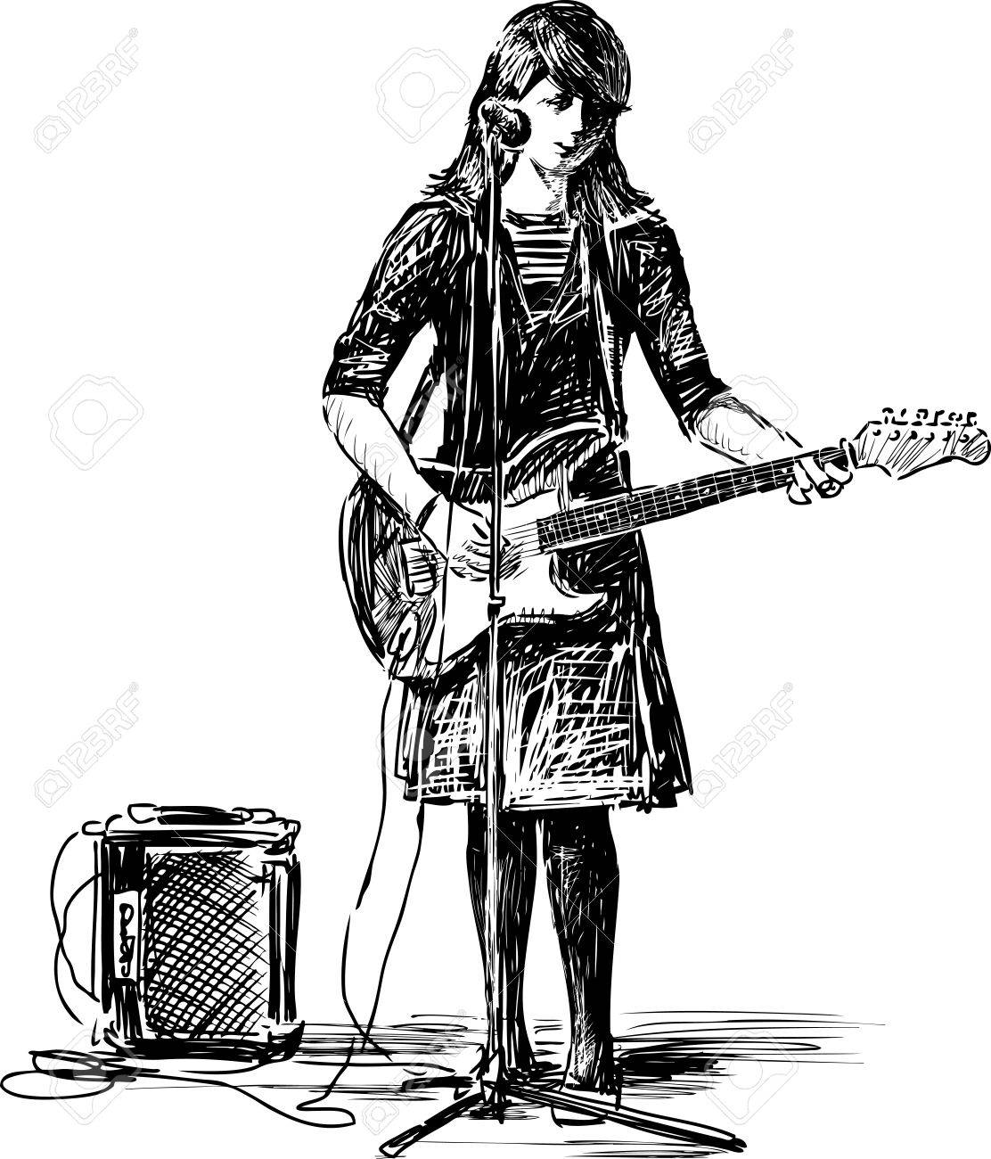 Sketch of a girl with a guitar stock vector 81166657