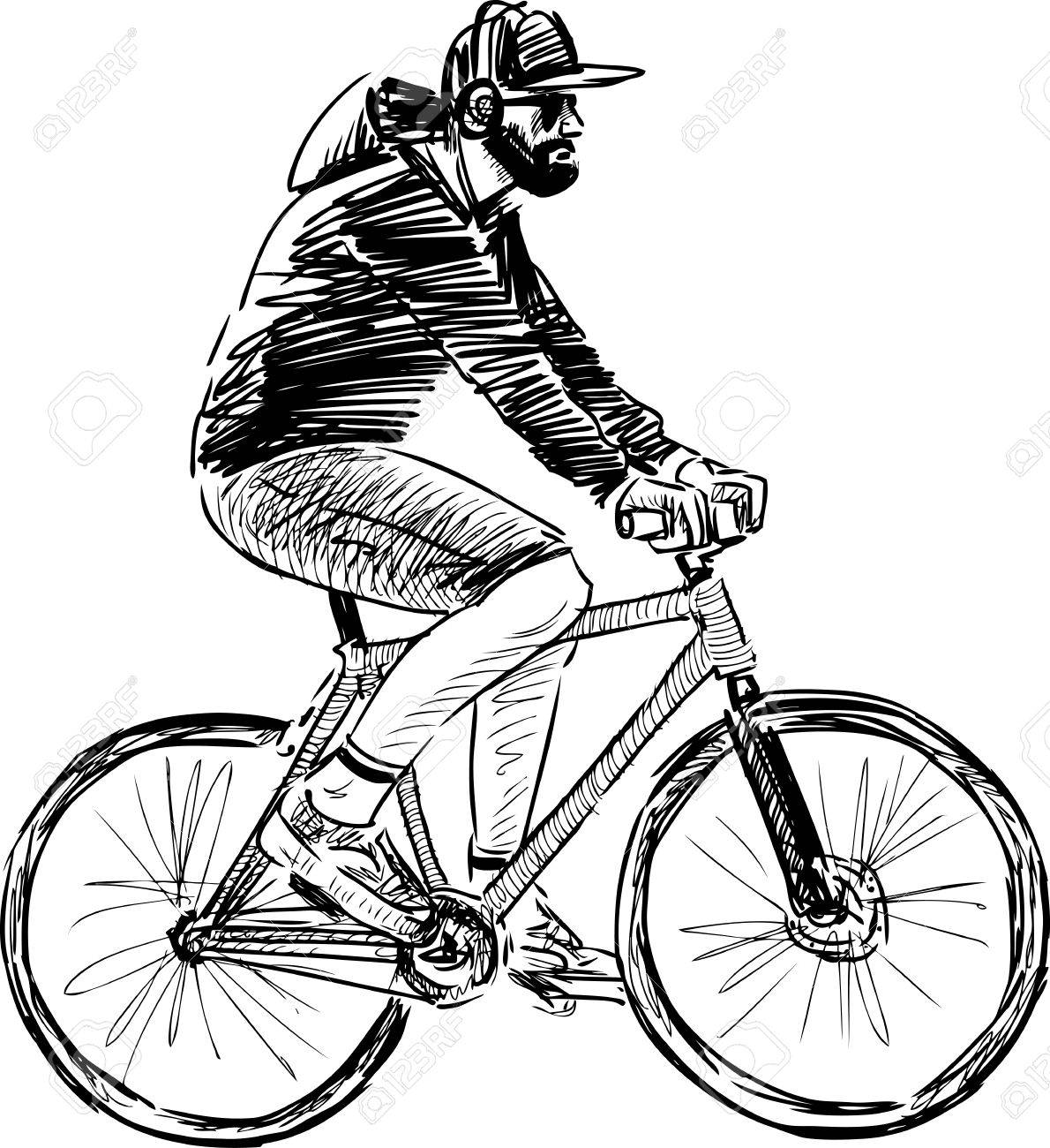 vector sketch of a man riding a bike royalty free cliparts vectors