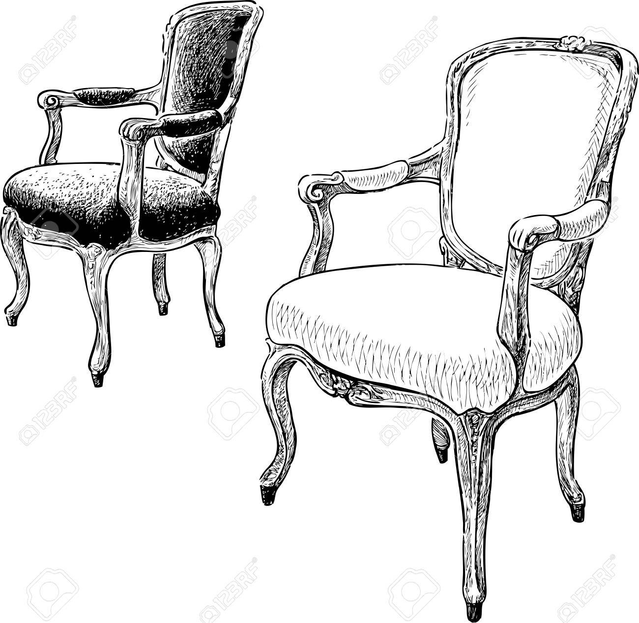 Vector   Vector Drawings Of The Antique Armchairs