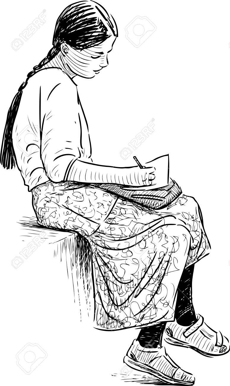 Sketch of a girl is writing a letter stock vector 81561124
