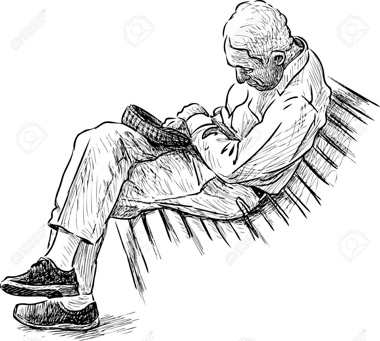 An old man sleeps on a park bench - 81653876