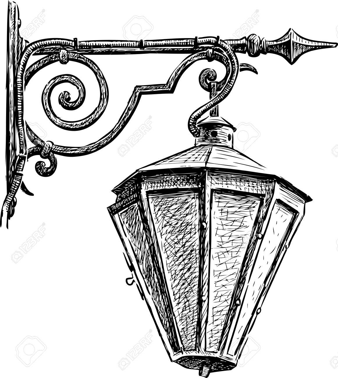 original art card street lamp sketch