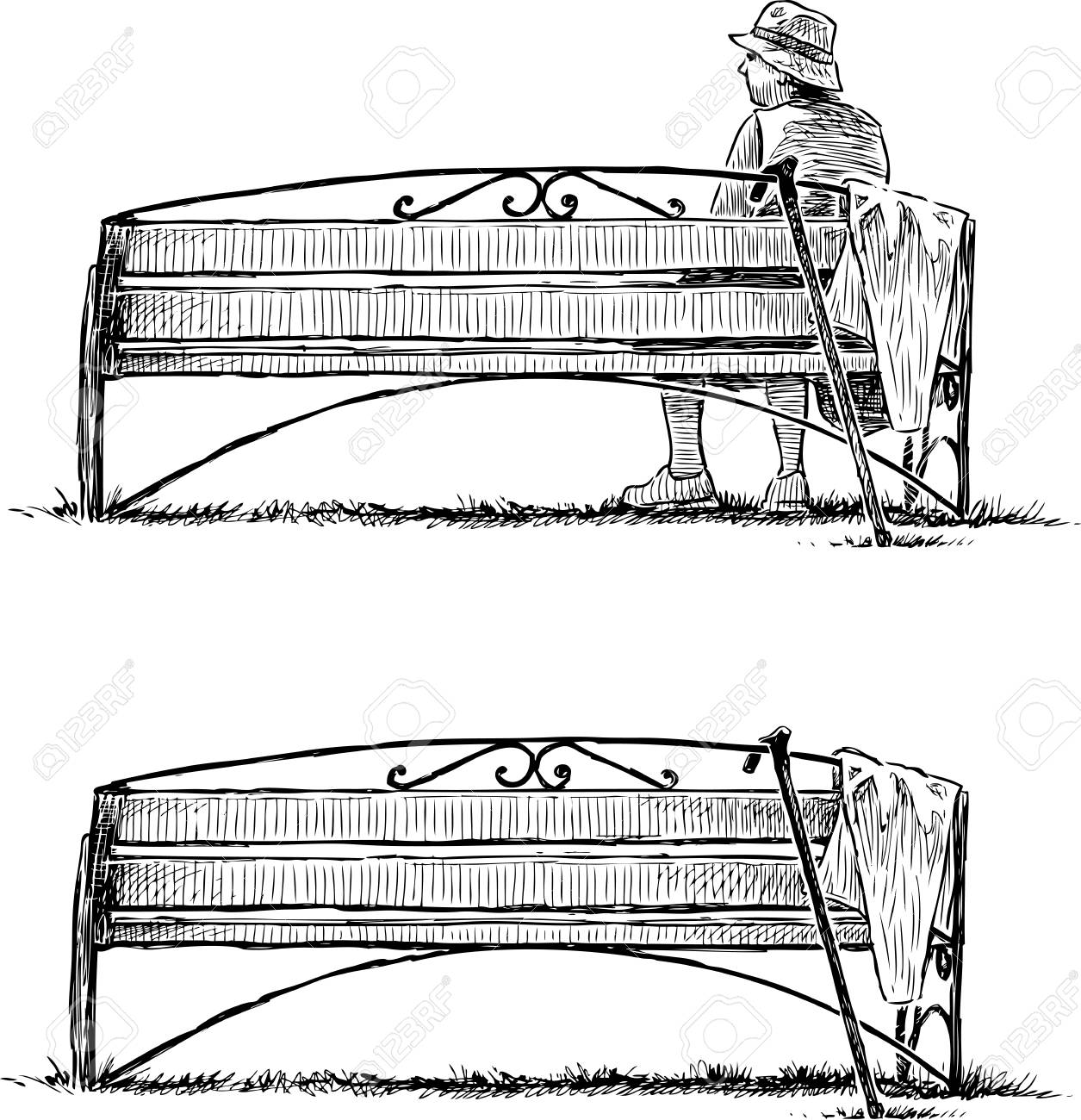 Sketch Of A Bench In A Park And An Elderly Woman Relaxing Royalty
