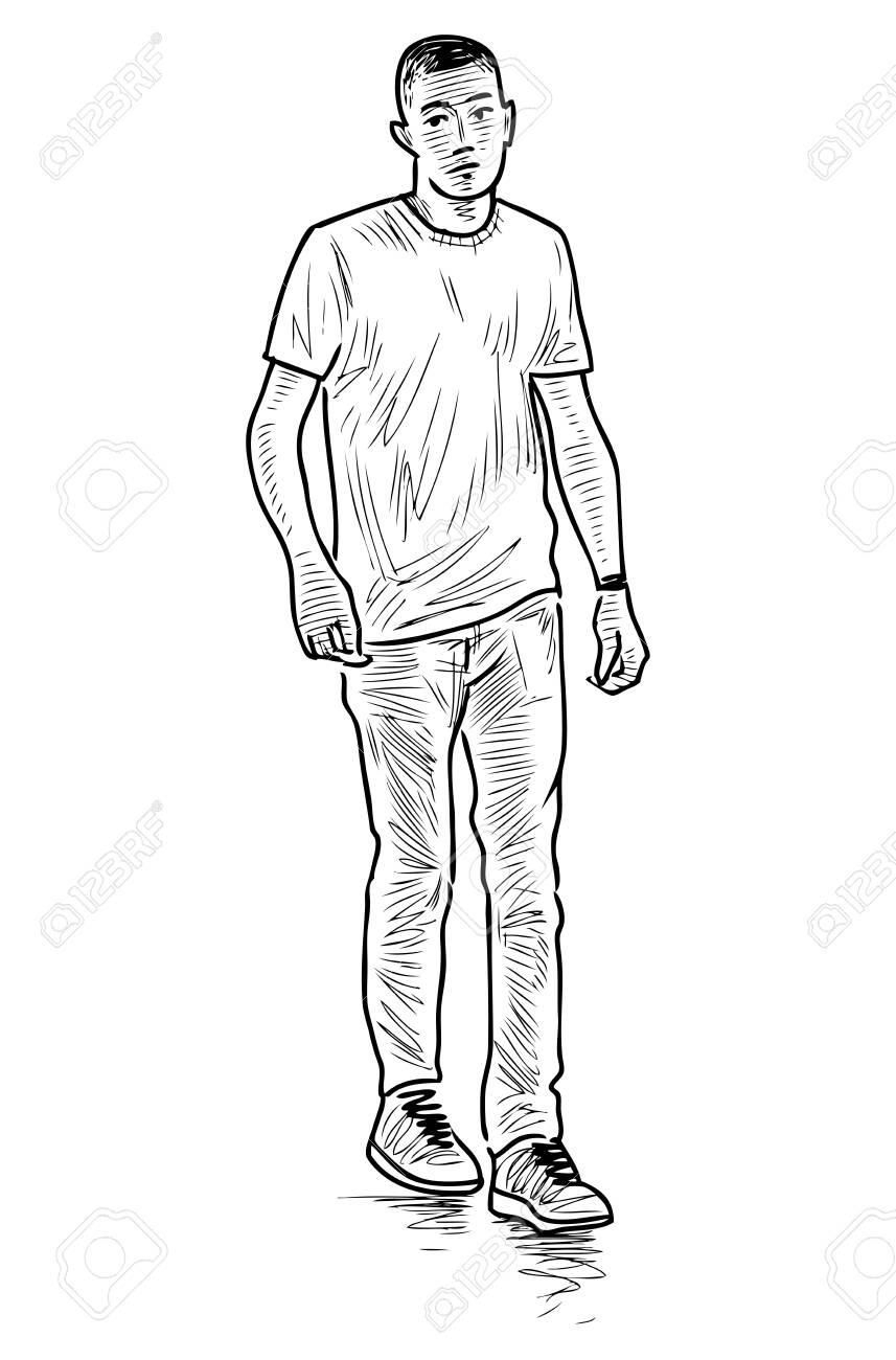 Sketch of casual young townsman walking outdoors - 145383060