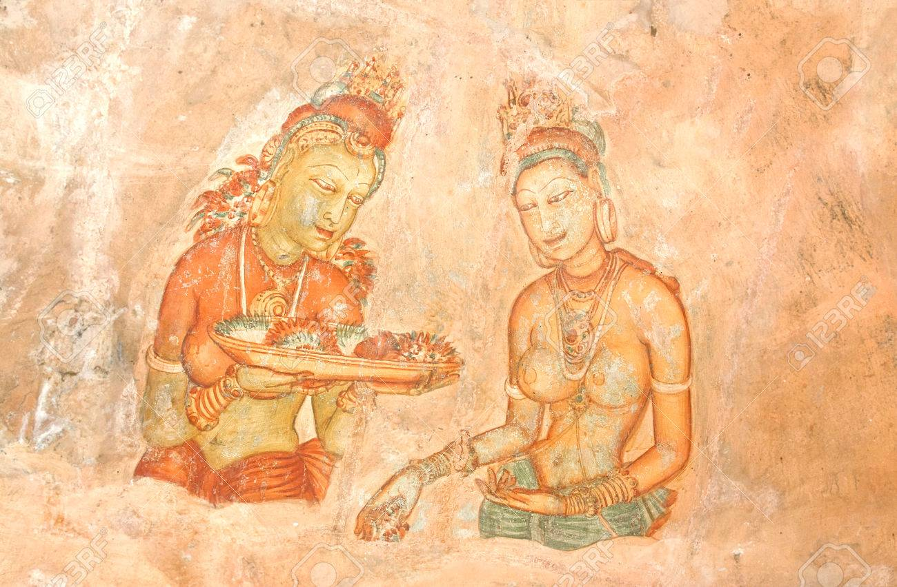 5th Century Sigiriya Rock Cave Wall Paintings, Sri Lanka Stock Photo ...