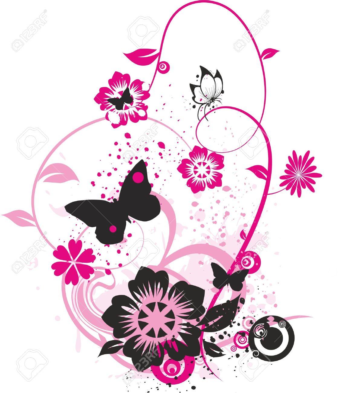 Banque dimages , dessin floral de papillons, de fleurs et de petits cercles colorés avec rose vif