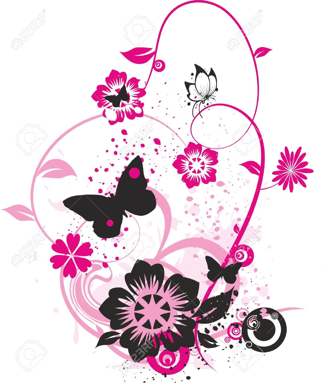 floral design with butterflies flowers and small circles colored
