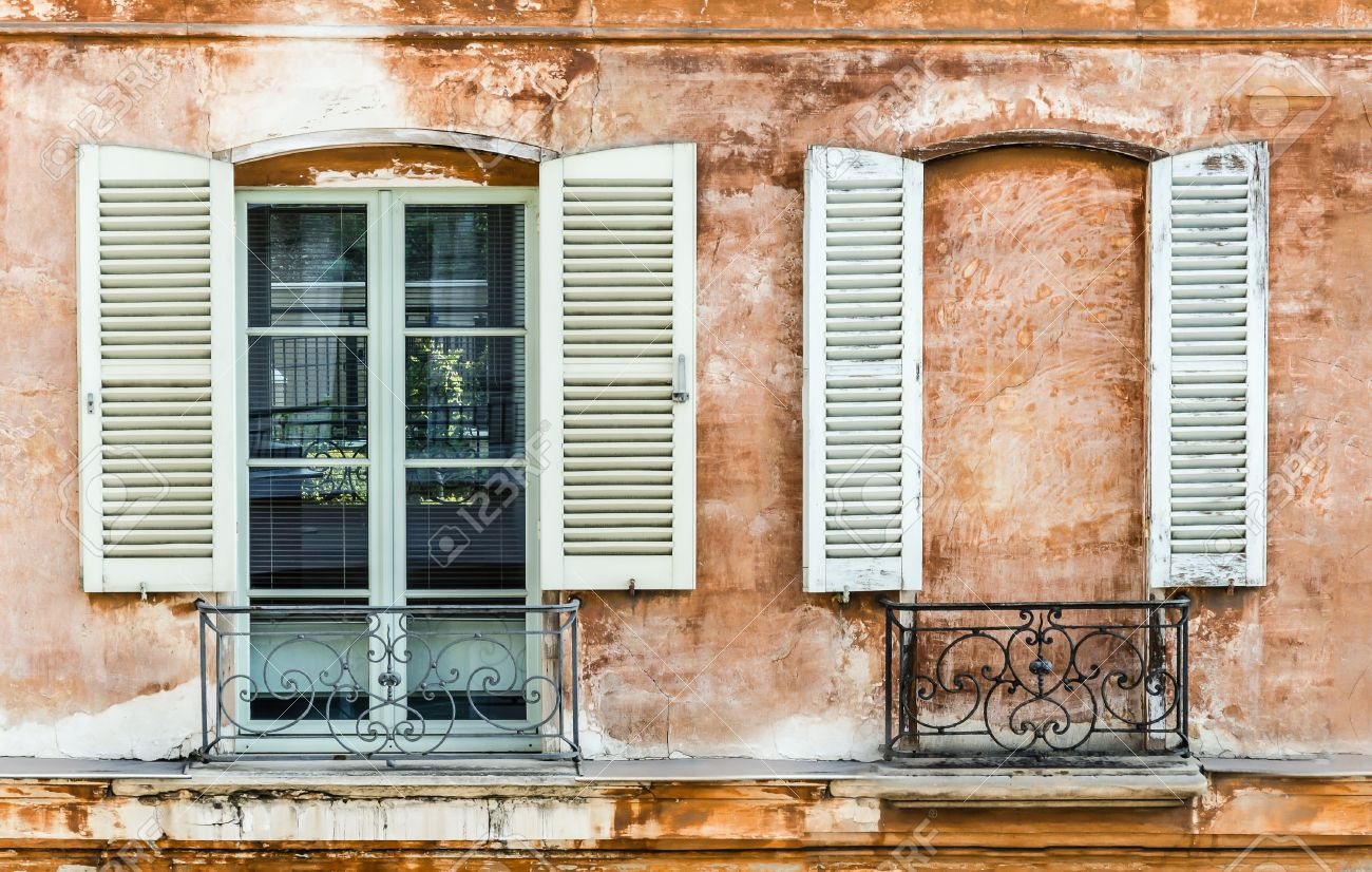 Two Old Shutters On A Window And A Wall Built To Mask A Window Stock Photo Picture And Royalty Free Image Image 29463071