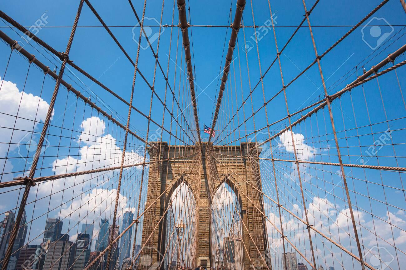 Brooklyn Bridge at a sunny day, New York City , Manhattan - 132061246