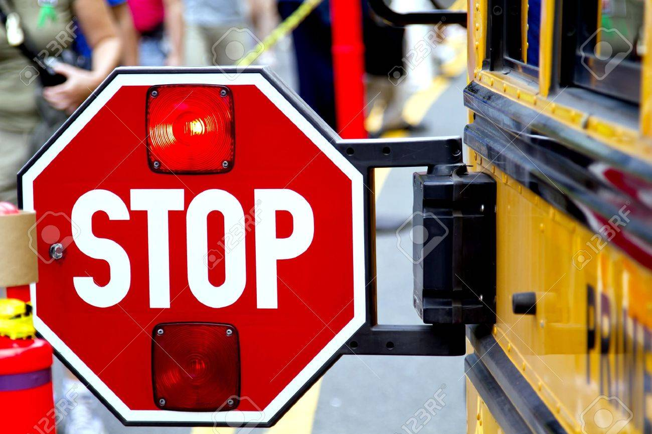 Flashing Red Light >> Stop Sign With The Flashing Red Light On The School Bus