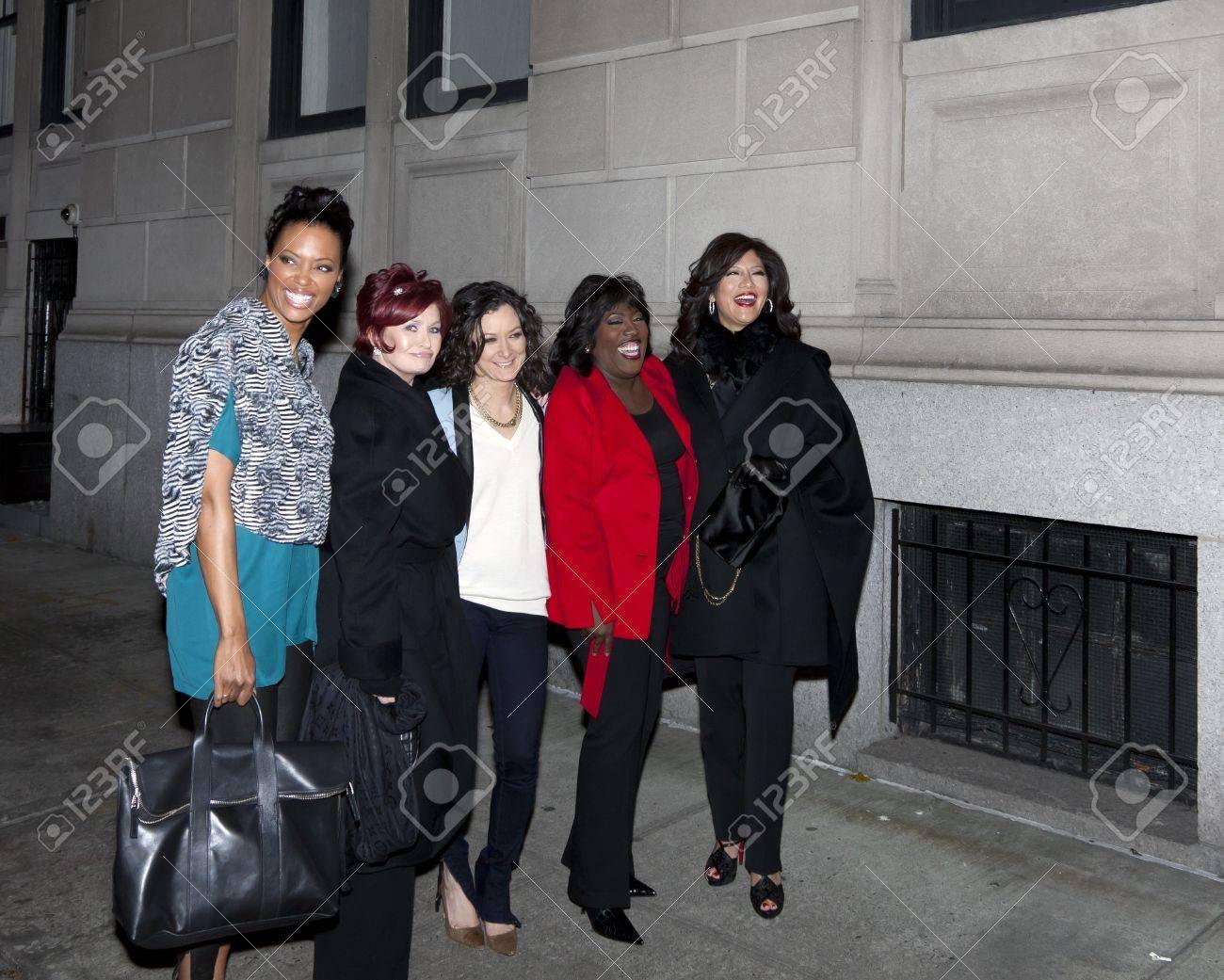 NEW YORK - DECEMBER 10: (L-R) Aisha Tyler, Sharon Osbourne, Sara Gilbert, Sheryl Underwood & Julie Chen attend CBS  Stock Photo - 11441460